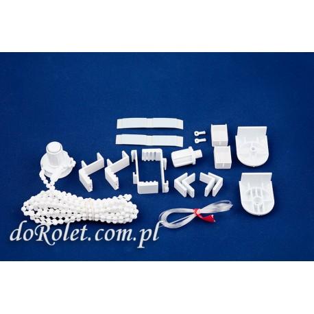 Zestaw elementów do montażu rolety mini z prowadzeniem żyłkowym.